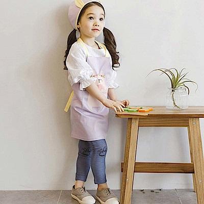 BEBEZOO 韓國 紫色防水圍兜頭巾兩件組