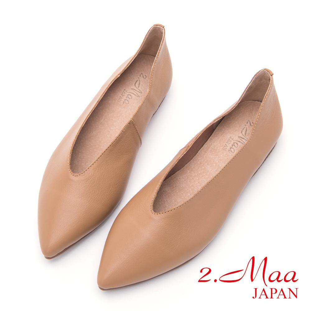 2.Maa-氣質高雅尖頭平底包鞋-可可