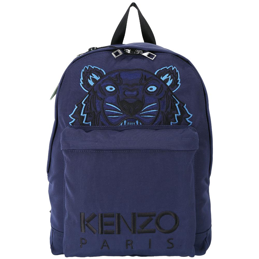 KENZO Tiger Canvas老虎刺繡圖騰帆布後背包深藍色
