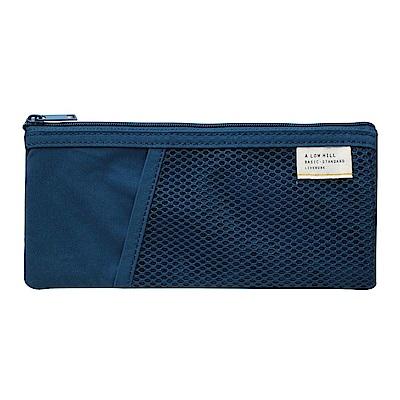 Livework 休閒風雙層對摺收納筆袋-海軍藍