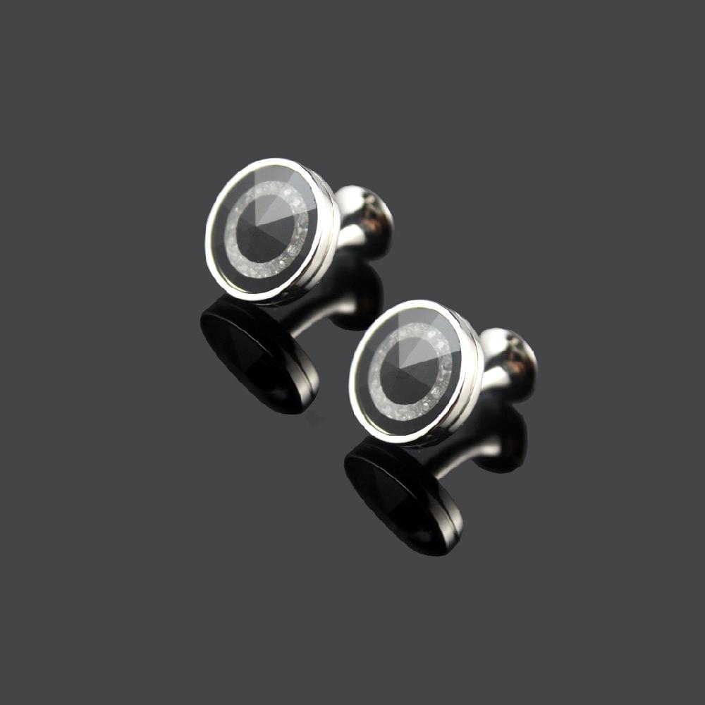 拉福,袖扣鑲鑽黑底質感袖扣(1對袖扣)