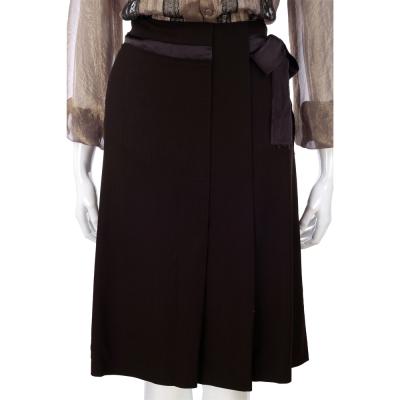ALBERTA FERRETTI 咖啡色打褶綁帶及膝裙