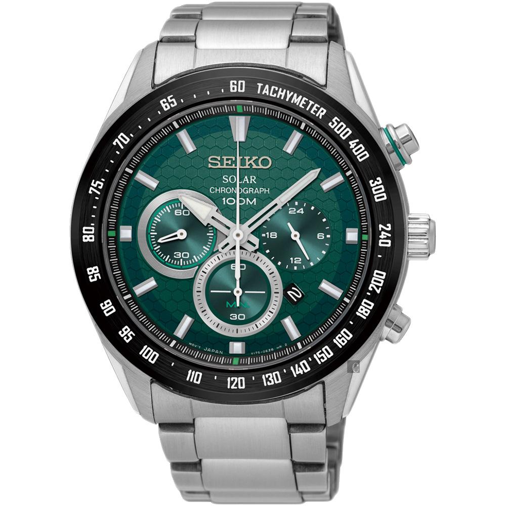 SEIKO精工 Criteria 太陽能計時手錶(SSC583P1)-綠/43mm