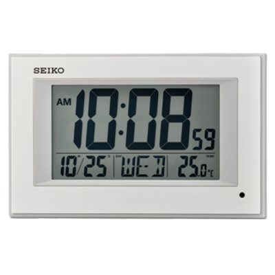 SEIKO 日本精工 電子鐘 溫度/日期(QHL077W)-白/16.2X25.6cm