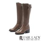 Fair Lady 騎士風範簡約扣環纖腿長靴  灰