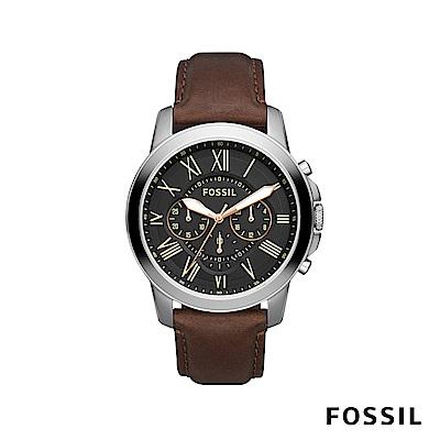 FOSSIL GRANT 真皮錶帶款大錶面男錶