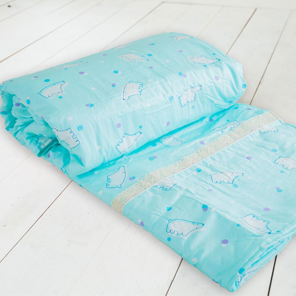 米夢家居-台灣製造-100%精梳純棉雙面涼被5*7尺-北極熊藍綠