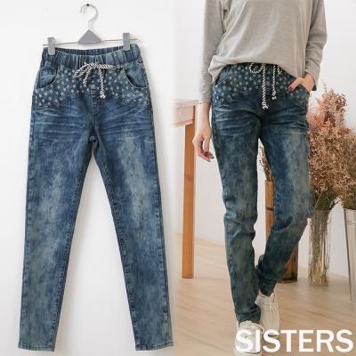 中大尺碼-水洗刷白雪花星星小直筒牛仔褲