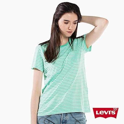 T恤 女裝 短袖純棉TEE 圓領 白綠條紋 - Levis