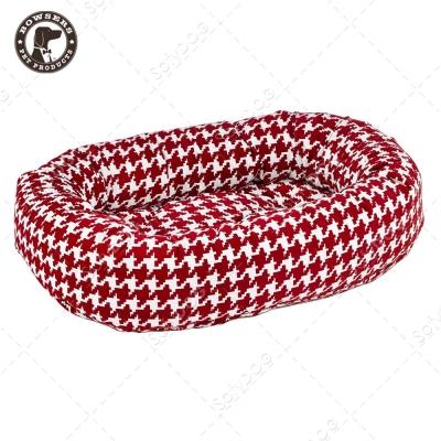 BOWSERS甜甜圈極適寵物床-紅白千鳥紋-S