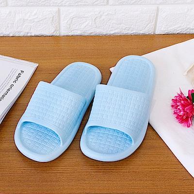 333家居鞋館 回彈蓬底 日式和風家居拖鞋-水藍色