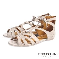 Tino Bellini 巴西進口蛇紋鏤空綁帶羅馬平底涼鞋_淺灰