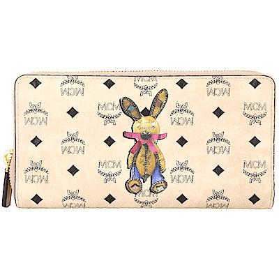 MCM Rabbit 兔子印花圖騰拉鍊長夾(裸膚色/內裡粉色)