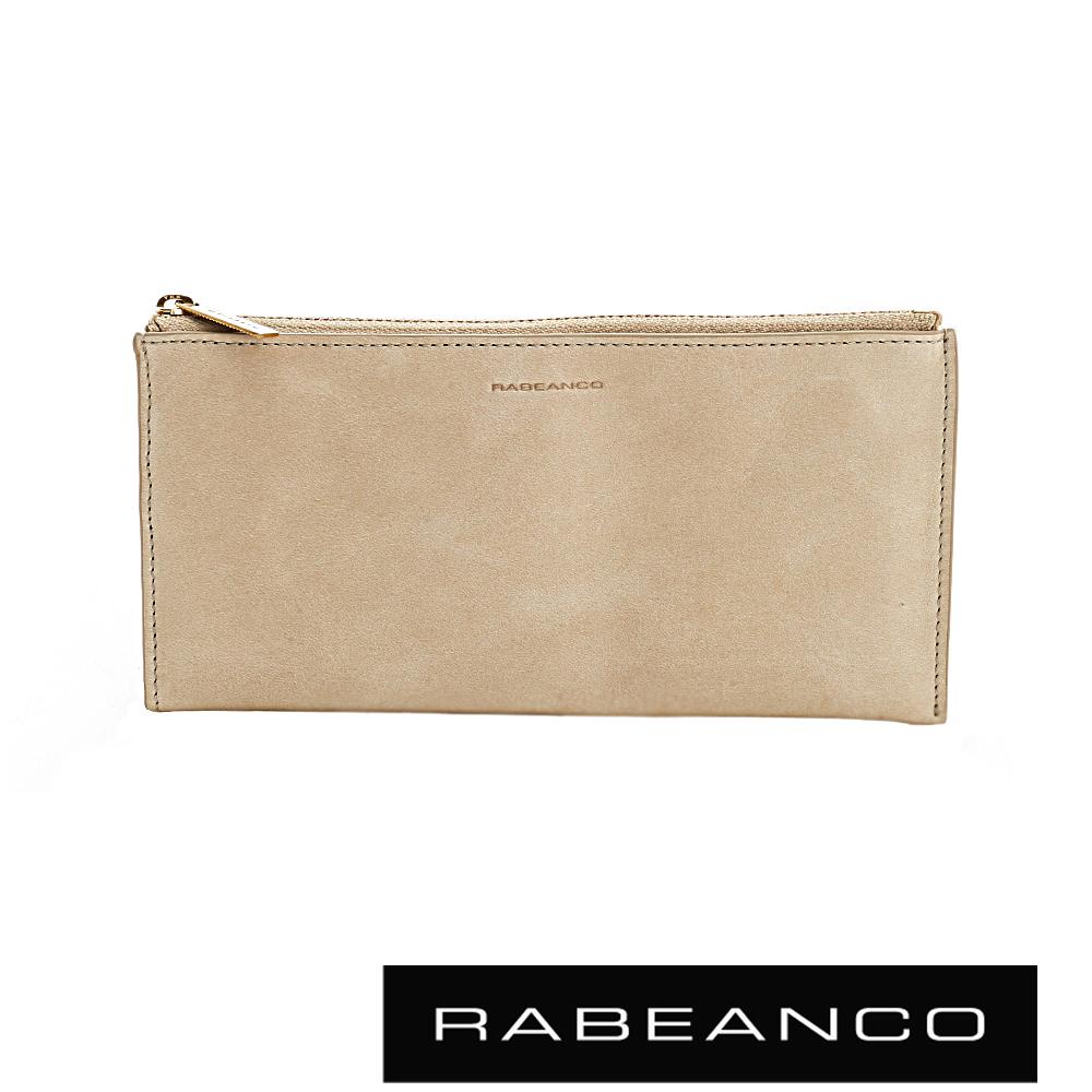 RABEANCO 迷時尚牛皮系列雙面卡層拉鍊長夾 深杏