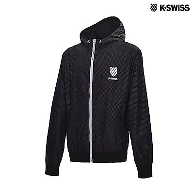K-Swiss 5 Stripe Windbreaker抗UV風衣外套-男-黑