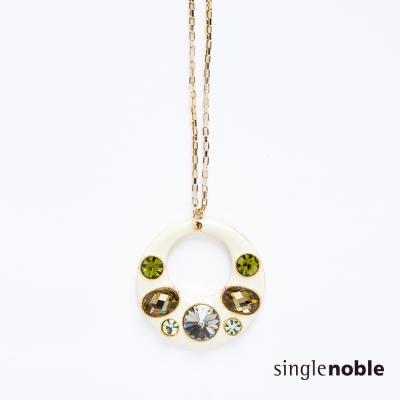獨身貴族 艷彩簡約象牙配色圓環拼貼水鑽項鍊(1色)