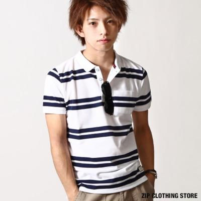 清爽海洋風夏季POLO衫 ZIP日本男裝
