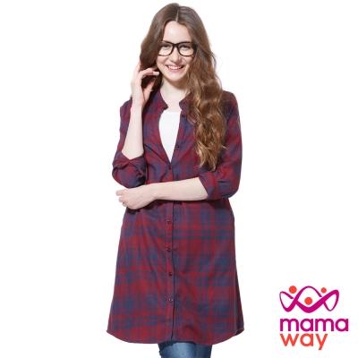 孕婦裝 哺乳衣 小立領平織兩穿孕哺洋裝(共二色) Mamaway