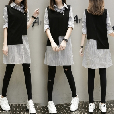 中大尺碼條紋排釦長版襯衫加斜領滾邊不對稱背心套裝XL~4L-Ballet Dolly
