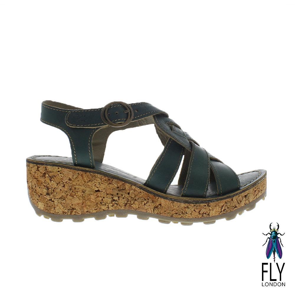 Fly London(女) 麻花捲楔型高底真皮涼鞋 - 海洋綠