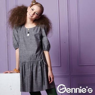 Gennies奇妮-素雅品味繽紛彩釦秋冬孕婦洋裝(G1208)-灰