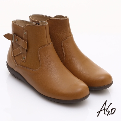 A.S.O 都會休閒 柔軟真皮側邊拉鏈奈米短靴 茶