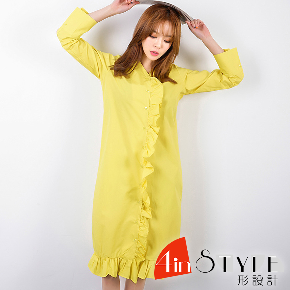 V領拼接荷葉邊長袖襯衫洋裝 (共二色)- 4inSTYLE形設計