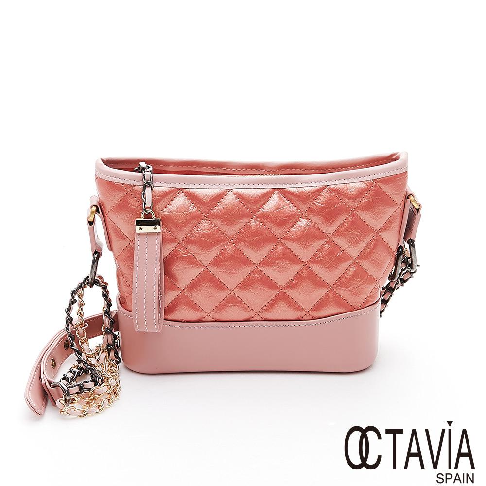 OCTAVIA 8 真皮 - 搖滾名媛 菱格牛皮雙色雙鍊肩斜二用包 - 珊瑚粉