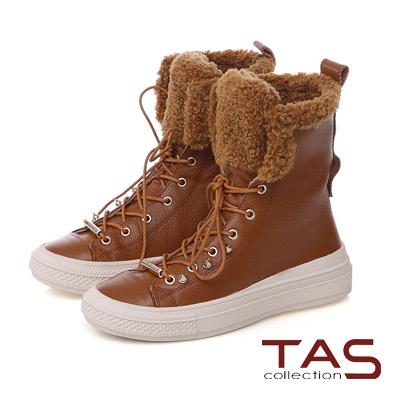 TAS 兩穿式短毛滾邊綁帶牛皮中筒靴-榛果卡其