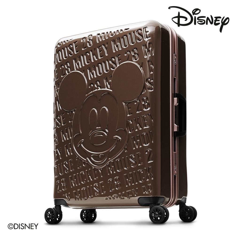 Disney1928米奇浮雕復刻 28吋PC鏡面深鋁框行李箱-咖啡金