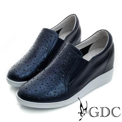 GDC-星星沖孔水鑽真皮內增高懶人休閒鞋-藍色