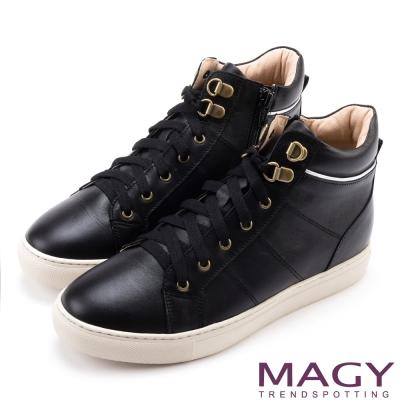 MAGY 街頭率性 真皮內增高高筒休閒鞋-黑色