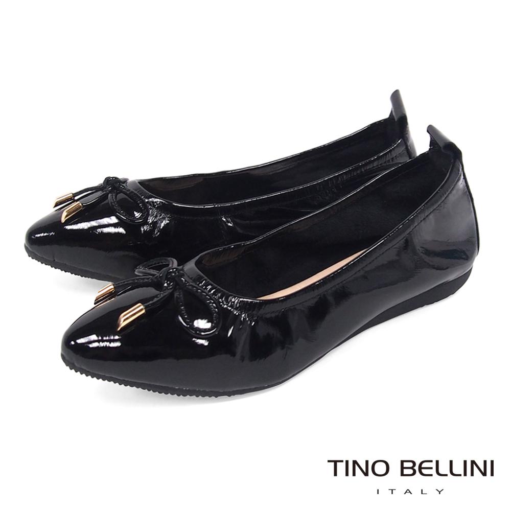 Tino Bellini 素雅小蝴蝶結全真皮平底娃娃鞋_ 黑