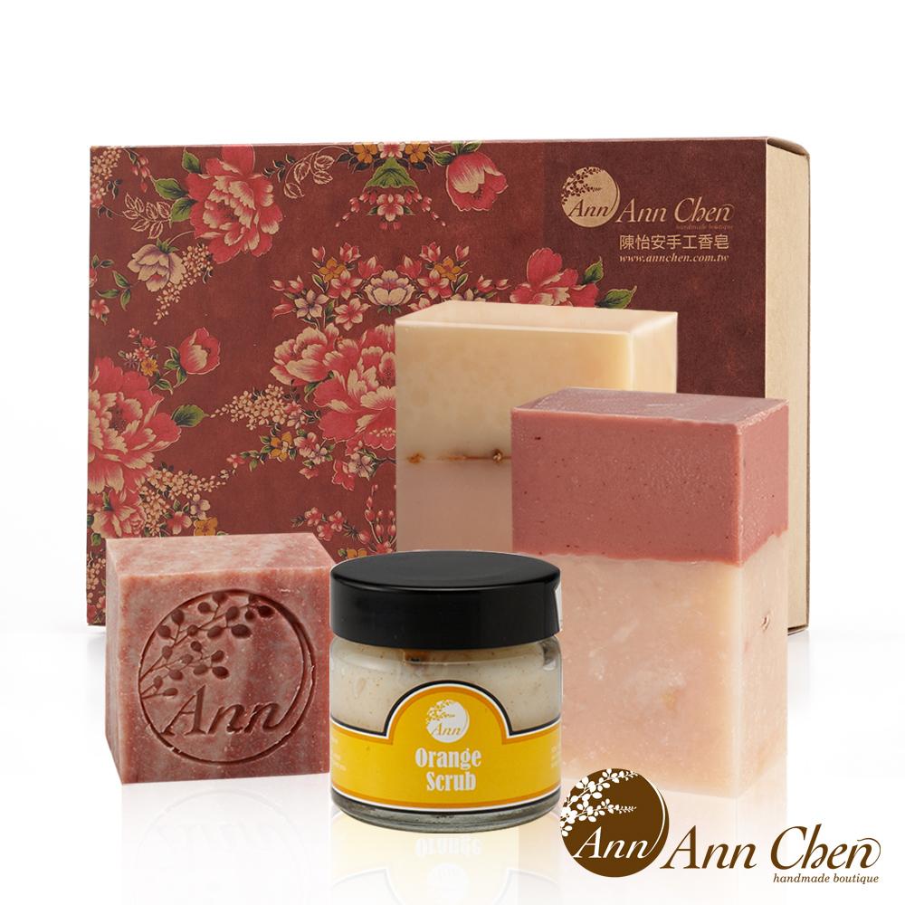 陳怡安手工皂-玫瑰清柔沐浴洗顏去角質四入禮盒