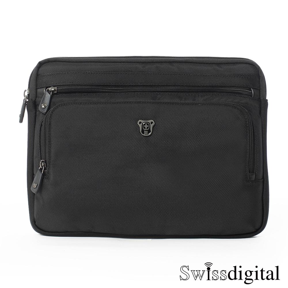Swissdigital - 黑色原力系列 魅力四射 平板手拿肩背二用包 - 簡單黑