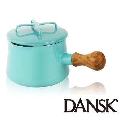 丹麥DANSK-琺瑯柚木單柄湯鍋13-5CM-湖水綠