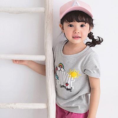 親子系列~高含棉彩虹字母燙印圖袖反褶上衣-OB大尺碼