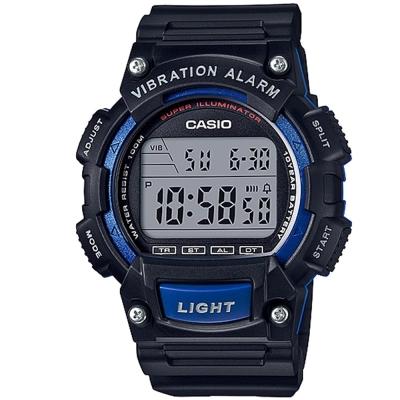 CASIO 強悍頂尖休閒玩家必備數位運動錶(W-736H-2A)-黑X藍框/47mm