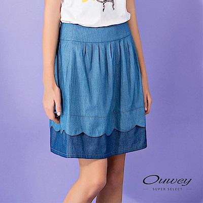 OUWEY歐薇 透氣輕薄及膝壓摺配色牛仔裙(藍)
