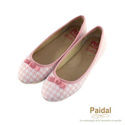paidal 千鳥格小蝴蝶結芭蕾舞鞋娃娃鞋-粉
