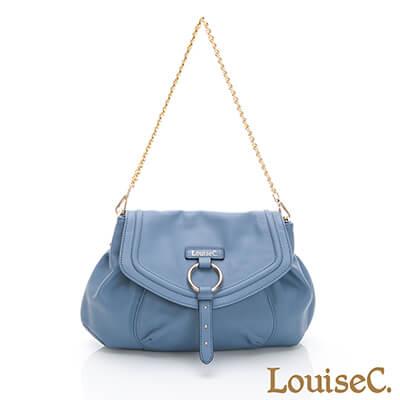 LouiseC. 義大利牛皮甜美鏈帶肩背包-藍色-05C01-0055A09