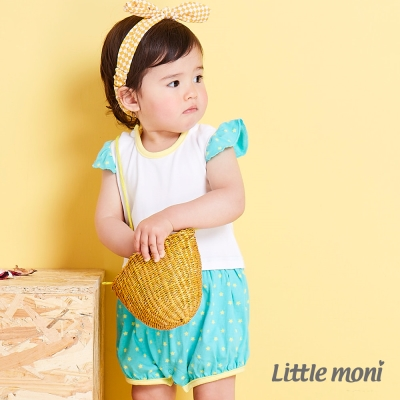 Little moni 甜美女孩拼接星星連身褲 白色