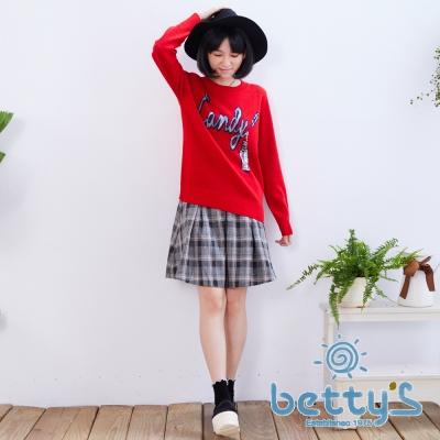betty's貝蒂思 學院風格紋百褶裙(紅色)