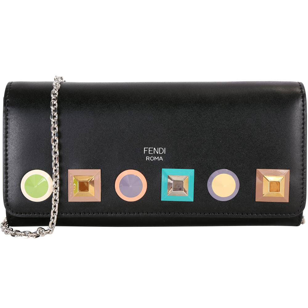 FENDI Multi Studs 幾何多彩鉚釘小牛皮長夾/鍊帶包(黑色)