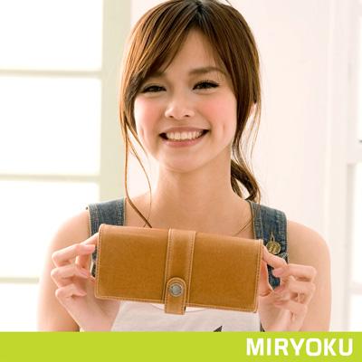 MIRYOKU-經典復古皮革系列-個性刷色質感長夾-駝-共4色