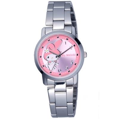 HELLO KITTY 美樂蒂愛心俏麗優質手錶-銀x粉紅/30mm