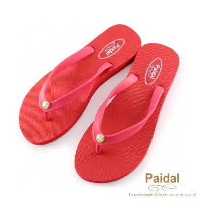 Paidal 素色女足弓款海灘拖鞋夾腳拖鞋-桃紅