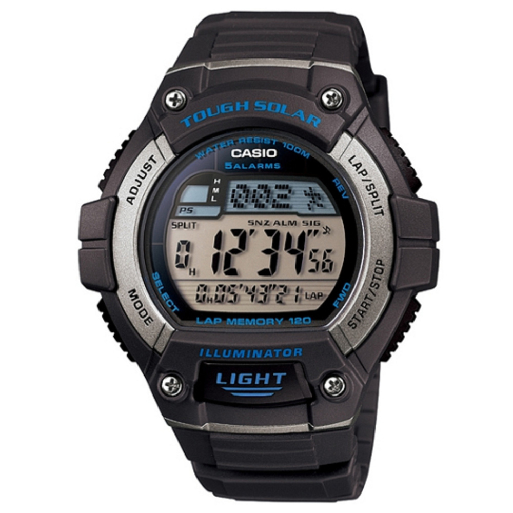 CASIO 陽光遊俠全方位電子運動錶(W-S220-8A)-灰色/49mm