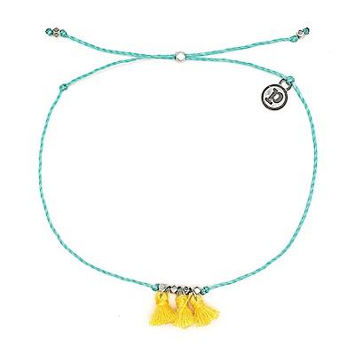 Pura Vida 美國手工 黃色流蘇 藍綠色臘線可調式防水衝浪腳鍊