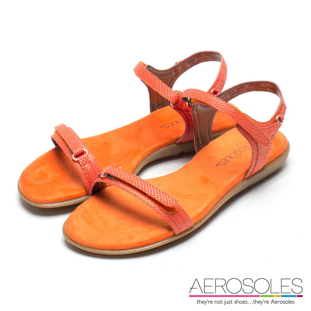 AEROSOLES 熱帶島嶼原色系皮革金屬釦帶涼鞋-活力橘色